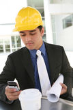 Business Construction Man at work office building Stock Image