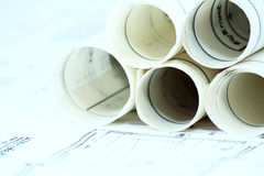 Business construction paperwork. On  desk Royalty Free Stock Image