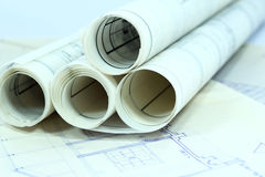 Business construction paperwork. On  office desk Royalty Free Stock Photo