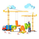 Business construction site building word PLAN Stock Photos