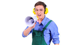Business. Construction worker shouting into megaphone. Isolated on a white background Stock Photo