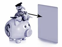 Business consultant. A piggy bank with a dollar sign and a mascot with a college hat and a blank chart on white background Stock Photo