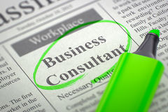 Business Consultant Hiring Now. 3D. Royalty Free Stock Photo