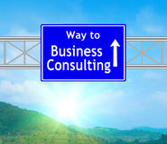 Business Consulting Blue Road Sign Stock Image