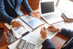 Business consulting businessman meeting brainstorming report project analyze stock photo