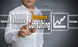 Business consulting concept background is shown by man Royalty Free Stock Image