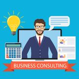 Business consulting concept. Business consulting. Male business coach in the screen. Vector illustration in flat style Stock Photo