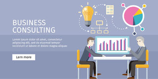 Business Consulting Concept Vector Illustration. Business consulting concept. flat style. Expert provides advice and analyzes the financial results of the client Stock Images