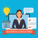 Business consulting concept. Business consulting. FeMale business coach in the screen. Vector illustration in flat style Stock Photos