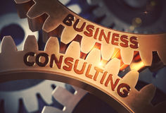Business Consulting on the Golden Gears. 3D Illustration. Stock Photos