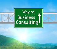 Business Consulting Green Road Sign Royalty Free Stock Photos