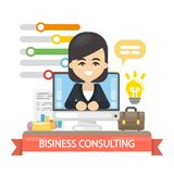 Business consulting illustration. Business coach in the screen Royalty Free Stock Image