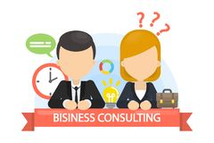 Business consulting illustration. Businessman and businesswoman at meeting Stock Image