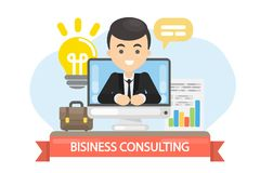 Business consulting illustration. Male business coach in the screen Stock Photos