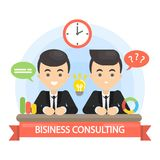 Business consulting illustration. Two businessmen at meeting Royalty Free Stock Images