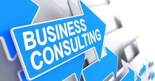 Business Consulting - Text on the Blue Pointer. 3D. Business Consulting, Label on Blue Cursor. Business Consulting - Blue Pointer with a Label Indicates the Stock Photos