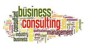 Business consulting in word tag cloud. Business consulting concept in word tag cloud on white background