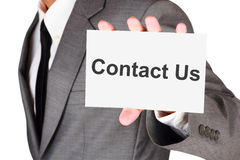 Business contact us card shown Stock Image