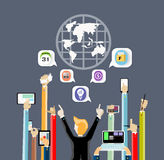 Business Contact worldwide by hand touch tablet and money Stock Images