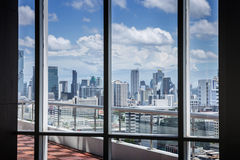 Business Contemporary Meeting Room Office Working Concept with frame window and city background
