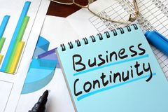 Business Continuity written on a notepad. Business Continuity written on a notepad with marker stock photography