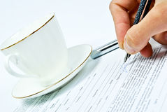Business contract. And pen close up Stock Photo