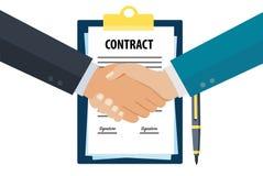 Business contract handshake vector illustration