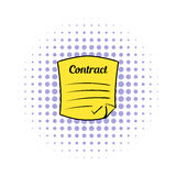 Business contract icon, comics style Stock Images