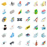 Business contract icons set, isometric style. Business contract icons set. Isometric style of 36 business contract vector icons for web isolated on white Royalty Free Stock Image