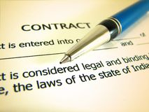 Business Contract and pen Stock Photo