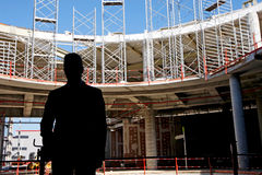 Contractor on construction site royalty free stock photos