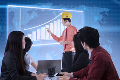 Business contractor success presentation on blue digital Royalty Free Stock Photography