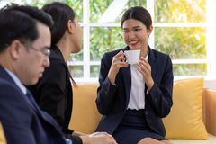 Business conversation in cafe royalty free stock image