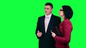 Business conversation chroma key stock video footage
