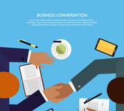 Business Conversation Design Color Flat. Negotiation table, two successful business man shake hands as a sign of agreement. Coffee on the table notebooks vector illustration