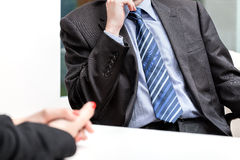 Business conversation. Hands put together, business conversation, isolated background Royalty Free Stock Image