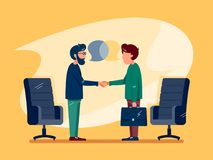 Business conversation at meeting. Two men make deal. Vector illustration Stock Photo