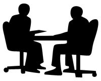 Business conversation. Two businessmen speaking and working sitting at a desk in office. Vector illustration silhouette vector illustration