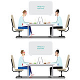 Business conversation. Vector illustration on white background featuring set of two communications between two businessmen at the table Stock Images