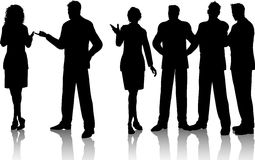 Business conversations. Silhouettes of a group of business people having conversations stock illustration