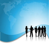 Business conversations. Silhouette of a group of business people on a world map background vector illustration