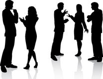 Business conversations. Silhouettes of business people in conversation stock illustration