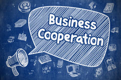 Business Cooperation - Business Concept. Speech Bubble with Wording Business Cooperation Hand Drawn. Illustration on Blue Chalkboard. Advertising Concept Stock Images