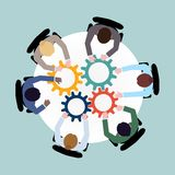 Business cooperation concept. Business team meeting cooperation concept top view group people on table with cogwheels vector illustration Stock Photography