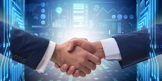 The business cooperation concept with two hands shaking. Business cooperation concept with two hands shaking Royalty Free Stock Images