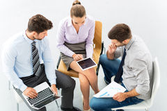 Business cooperation, high angle royalty free stock photo