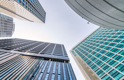 Business and corporate concept. Modern office buildings, skyward. View Royalty Free Stock Photography