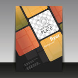Business or Corporate Flyer Template with Squares Pattern. Abstract Colorful Modern Styled Flyer, Leaflet, Pamphlet or Book Cover Creative Design with Place for Stock Images
