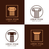 Business corporate identity with columns. Ancient column logo vector set Royalty Free Stock Photo