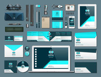 Business corporate identity items set. Vector working articles phone, tablet, maps, cards with brand logos. Work Stuff. Stationery 3d realistic collection set Stock Image